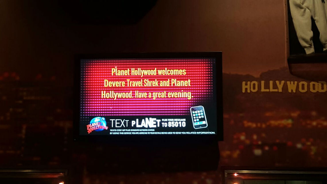 Dinner at Planet Hollywoods